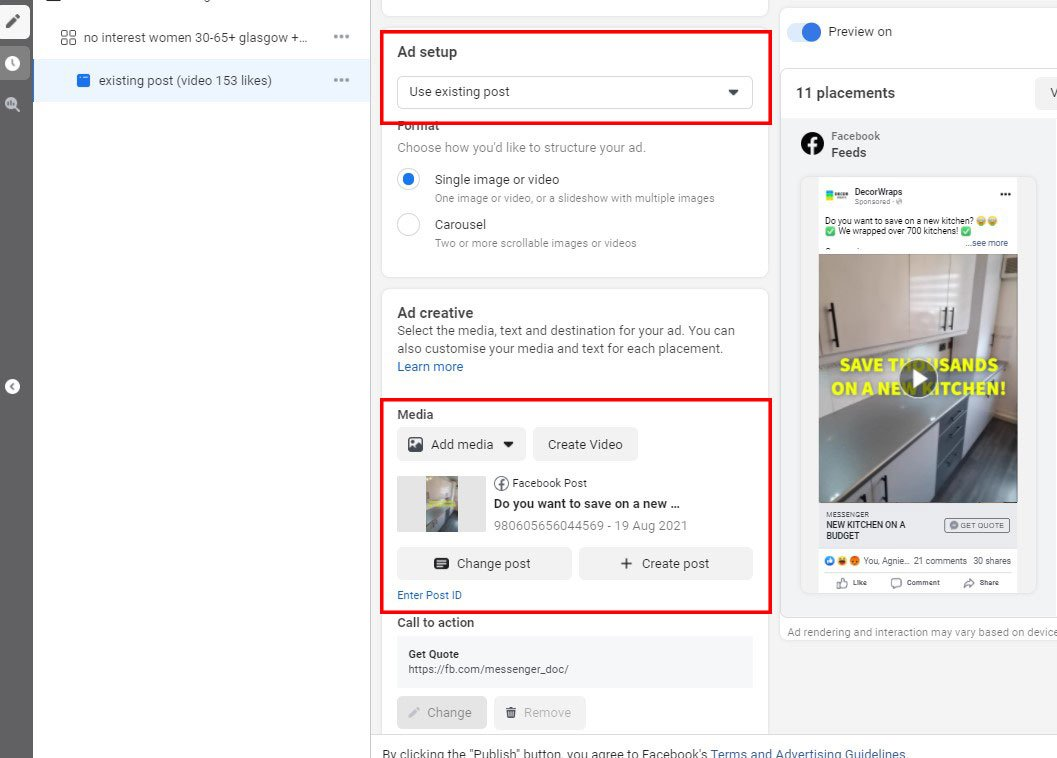 use existing post facebook